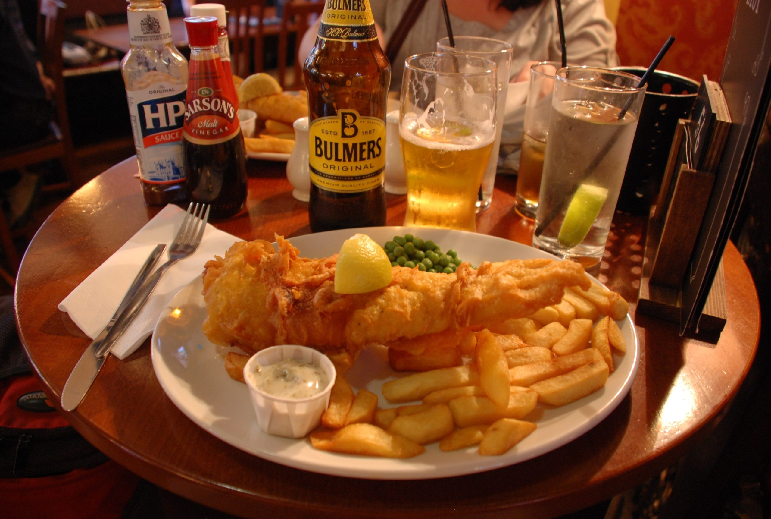drinks and fish n chips